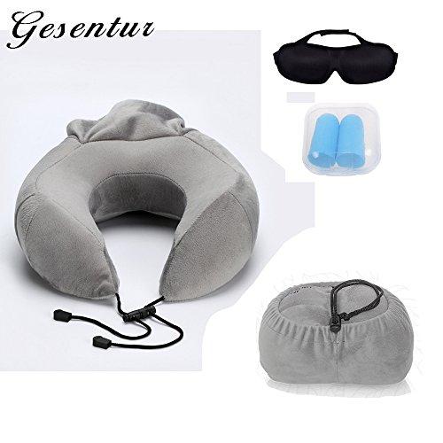 Gesentur Juego de 3 Kit de Viaje Portátil - Almohada de Viaje + Enchufe de Oído + 3D Eyeshade, Ajuste Perfecto para Viajes, Oficina, Hogar, Camping ( Gris )