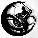 Horloge Murale en Vinyle Cadeau Fait Main Décorations Pour la Maison Home Office Sport Golf