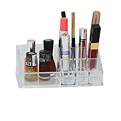 Kuber Industries Luxurious Clear Acrylic Makeup organiser Lipstic,Nail Paint,Eye Liner Holder Case - 9 Sections -Perfect Gift-KI3265