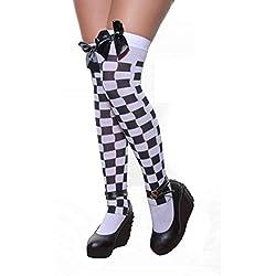 Ladies Sexy muslo alta Hold Up Impreso Medias con lazo en muchos colores multicolor White & Black Checkered mujeres: talla única