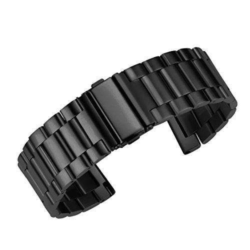 (20mm erstklassiges intelligentes Uhrenarmband massiver Edelstahl Gurt schwarz Metall-Sportuhr Stahl Männer gebürstet)