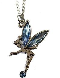 Pendentif jolie fée bleue sur chaîne de 40,6cm