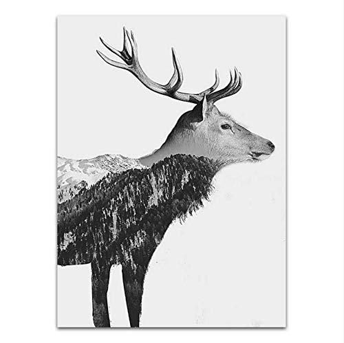 Djkaa Wandkunst Poster Print Leinwand Home Decoration Malerei Bild Öl Zeichnungen Morus Schwarz Und Weiß Tiere Deer Bird, 04 (Mit Rahmen)