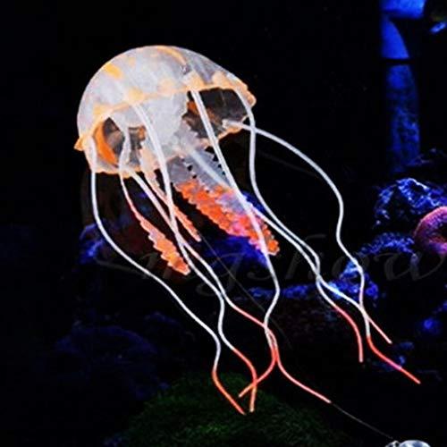 Aquarium Dekoration leuchtende Quallen Ornament Künstliche Quallen, 1 Stück Leuchtende Quallen als Dekoration Glühende Deko aus Silikon für Aquarium Fisch Tank Ornament (orange)