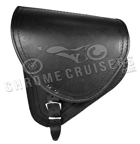 Cuero Negro Basculante Maletín Bolsa Individual para Harley Davidson Softail