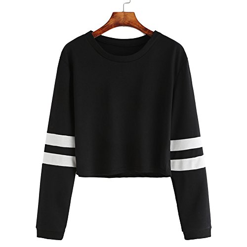 yeshi Damen Sweatshirt striped Long Sleeve Crewneck Sport Bauchfrei Pullover, schwarz (Stich-detail-jumper)