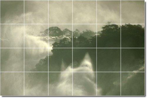 AZULEJOS DE COCINA CASCADAS FOTO MURAL CON 17  32 X 121 92 CM (24) 8 X 8 AZULEJOS DE CERAMICA