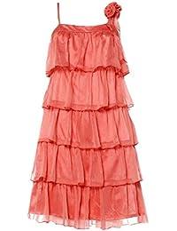 APART Damen-Kleid Chiffon-Volantkleid Orange Größe 34