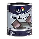 Deco Craft Buntlack Tiefschwarz Glänzend 1 Liter Rein-Acryl Lack + Grundierung Schnelltrocknend