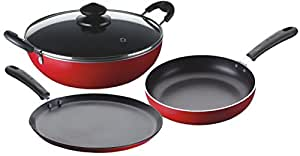 Bajaj Majesty Duo Non-Stick Cookware Set, 3 Pieces, Red