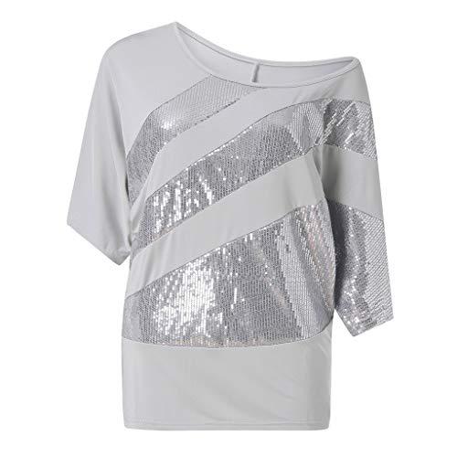 UFACE Damen Rundhals Pailletten Fledermaus Kurzarm T Shirt Frauen Causel Top Kalte Schulter Bluse Plus GrößE (XL, Grau)