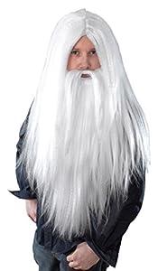 Wizard Wig and Beard Long White (peluca)