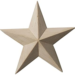 Ekena Millwork ROS03X03GLRW Galveston Star Rosette, 3 1/2-Inch x 3 1/2-Inch x 5/8-Inch, Rubberwood by Ekena Millwork