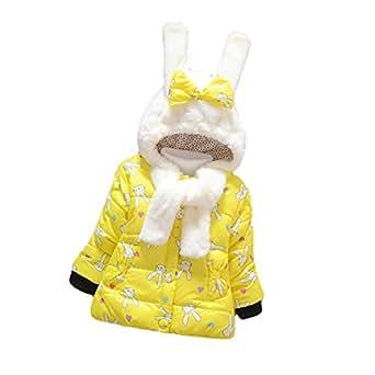 Tkria Invernale Bambina Cotone Outwear Cappotto Giacca Inverno Caldo Cappuccio Giubbotto 0-3 Anni