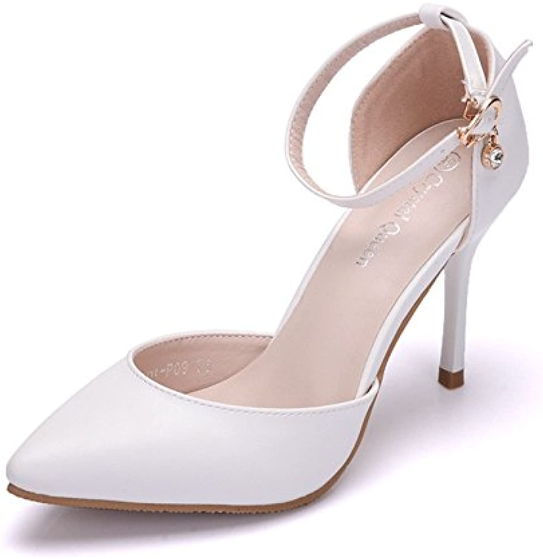 Un gran número de mujeres sandalias de tacón alto con una punta fina sandalias blanco singles femeninos zapatos...