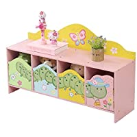 WODENY Kids Bedroom Cabinet Storage Children Cupboard Organizer 4 Units Animal Worm Butterfly Flower Paintings Pink Yellow Green Multi-colors