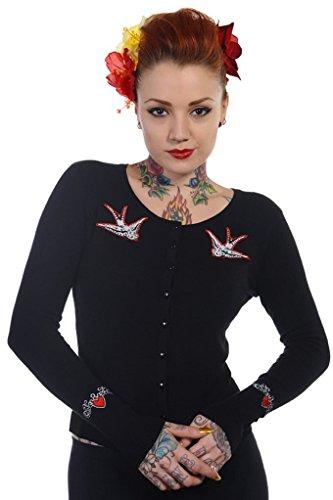 Banned Damen Schwalbe Vogel Strickjacke Top (S - 34-36) (Damen 50er Jahre Pullover)