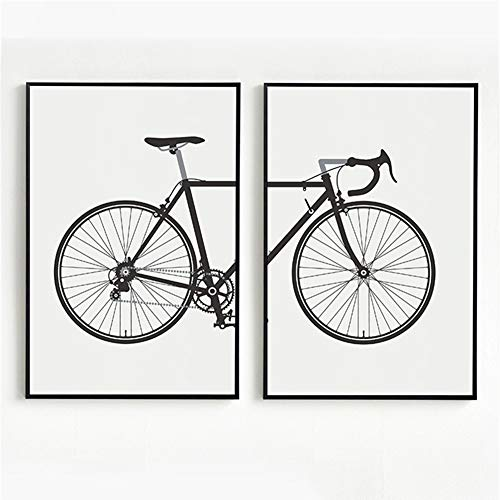 Leinwand-reproduktion, Leinwanddruck (LIBINA Leinwand Bilder 3 Teilig, Fahrrad Moderne 2 Stück leinwanddrucke, Reproduktion Malerei Leinwand Wandkunst Hängen für Wohnzimmer Schlafzimmer Dekoration)