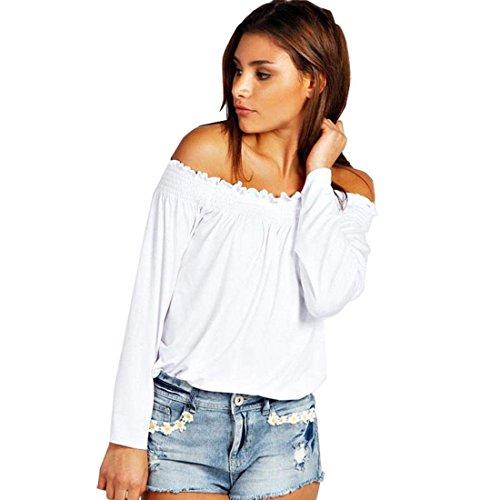 Donne sexy Boat spalla Off Collo maniche lunghe Camicetta Clubwear partito T-Shirt ( Bianco EU M )