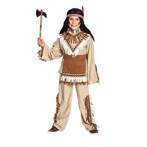 Kostümplanet® Indianer-Kostüm für Kinder mit Indianer Muster und Wild West Fransen, Größe: 128, Farbe: braun, Verkleidung für Karneval, Fasching, - Jungen (Kinder Indianer Junge Kostüm)