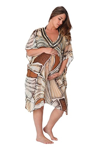 Ingear Maternity Embellished Beaded Poncho Cover Up Brown-One Size (Up Cover Embellished)