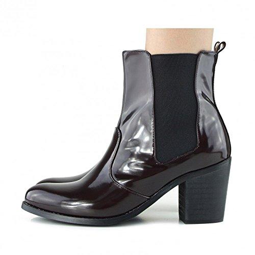 Donna con tacco caviglia Scarpe Elastico soffietti laterali Blocco tacco Chelsea Boots Borgogna Brevetto