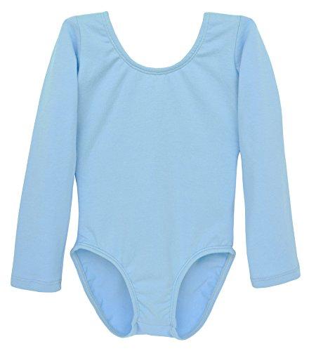 Dancina Mädchen Body Langarm Ballettanzug Klassik m. Spandex 104/110 (Bodysuit Blaue Spandex)