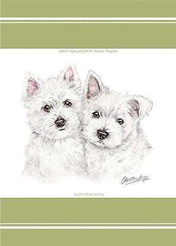 EVANS LICHFIELD PUPPY WESTIE WEST HIGHLAND TERRIER DOGS 100% COTTON GREEN TEA TOWEL 45 X 65CM - 17