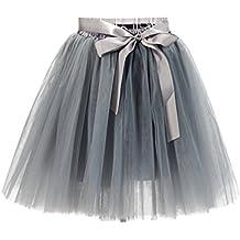 6af25da4d7 LINNUO Faldas Tul Mujer Falda ala Rodilla de 7 Capas Cintura Elástica Tutu  Princess Tulle con