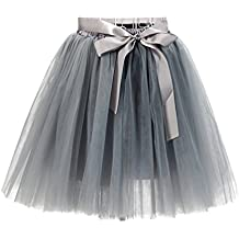 ed1b65350 LINNUO Faldas Tul Mujer Falda ala Rodilla de 7 Capas Cintura Elástica Tutu  Princess Tulle con
