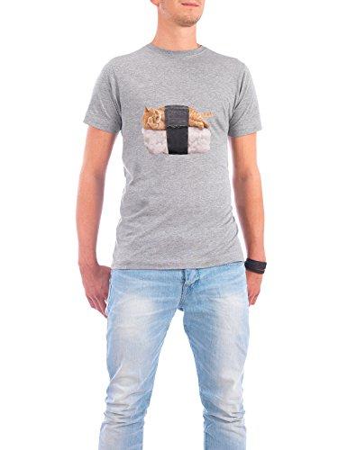 """Design T-Shirt Männer Continental Cotton """"SUSHI CAT"""" - stylisches Shirt Tiere Essen & Trinken von Paul Fuentes Design Grau"""