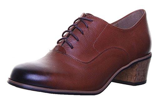 Justin Reece Damen Leder Lace Up Medium Ferse Schuhe Brogue Block Brown SS19