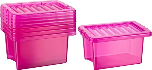 Kigima Basic Box 6,5l 5er Set Ordnungssystem Aufbewahrungsbox pink