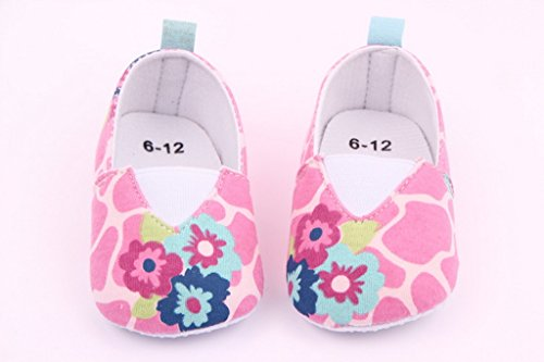 La vogue Weiche Babyschuhe für 0-18 Monate 3 Pink Blumen