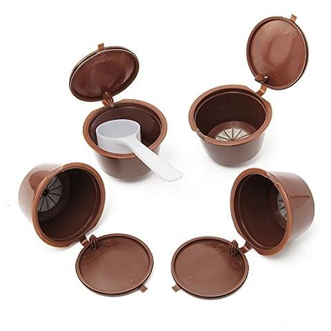 KING DO WAY Lot de 4 dosettes à café pour machines Nespresso Filtres réutilisables