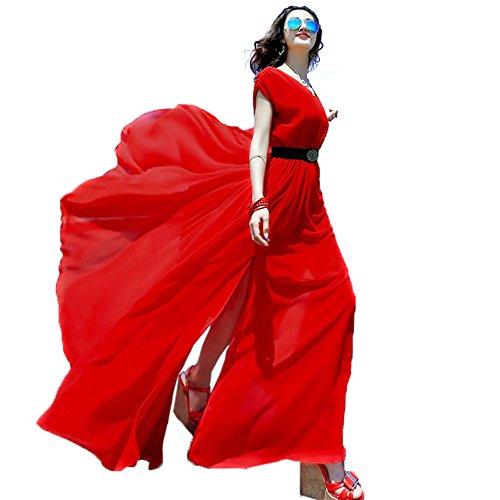 years-calm-vestido-con-aberturas-sin-mangas-para-mujer-rojo-rosso-talla-unica