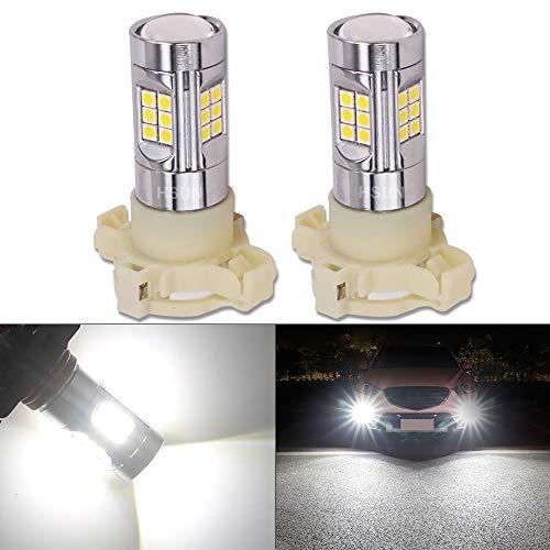 HSUN PY24W LED Ampoules,12V-24V 30LED-SMD3030 Puce Canbus Sans Erreur Pour Lampe de Brouillard de Voiture et plus,Paquet de 2,6000K Blanc