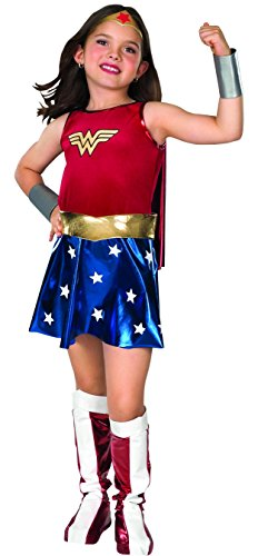Rubie's Official Deluxe Wonder Woman Fancy Dress.Available in a range of sizes, this authentic-looking and popular girls outfit includes a dress with attached cape, belt , boot tops, bracelets and headpiece.