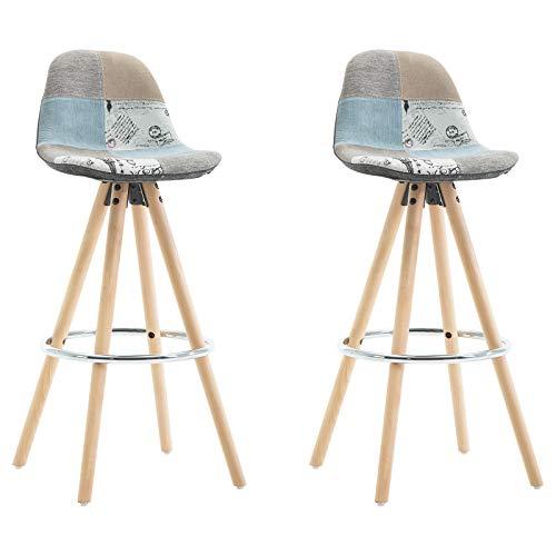 r 2er Set Barstuhl aus Leinen Holzgestell mit Lehne + Fußstütze Design Stuhl Küchenstuhl optimal Komfort Patchwork BH45pw-2 ()