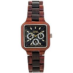 TENSE Premium // Summit - Karriholz // Black Oak - Herren Holz-Uhr B7305RD-BG