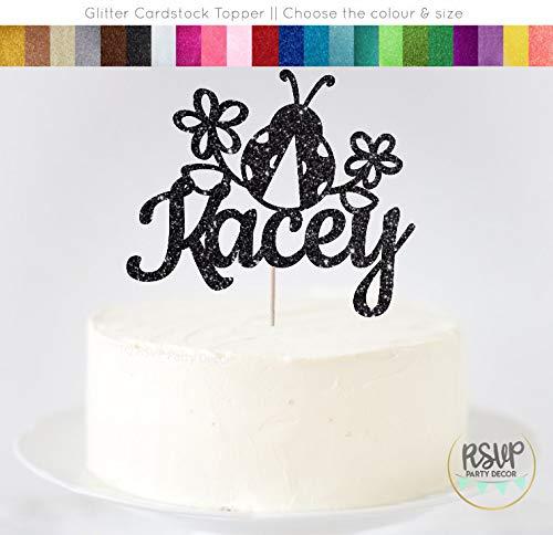 Ethelt5IV Benutzerdefinierte Marienkäfer Cake Topper Marienkäfer Party Dekorationen benutzerdefinierte Garten Cake Topper Marienkäfer unter dem Motto Geburtstag Frühling Party Decor
