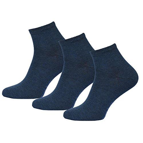 3 Paar Herren Kurzsocken Quatersocken mit Komfortbund Softrand in Blau 39-42