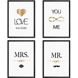 Mia Félice Poster-Set Collage DIN A4 True Love - schwarz-weiß Rose-Gold - Dekoration Wohnung modern - Wand-Deko Wohnzimmer - Tumblr Zimmer Wand-Bild - Wand-Bilder Schlafzimmer - ohne Bilderrahmen