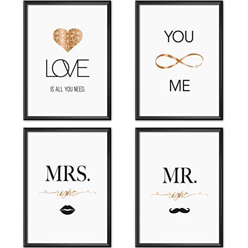 Mia Félice Poster-Set Collage DIN A4 True Love | schwarz-weiß Rose-Gold | Dekoration Wohnung modern | Wand-Deko Wohnzimmer | Tumblr Zimmer Wand-Bild | Wand-Bilder Schlafzimmer | ohne Bilderrahmen - Set Schlafzimmer Für