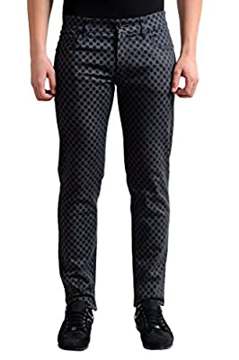 Dolce & Gabbana Black & Gray Wash Polka Dot Slim Fit Stretch Jeans