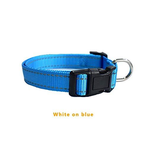 SUXIAO Gewohnheit gesticktesHunde- u. Welpenprodukt-Halsband, Starkes Nylon-personalisierte Erkennungsmarken-Ketten-Telefonnamen-Identifikation DIY, Weiß auf Blau, XS (Hund Zwinger Einstellbare)
