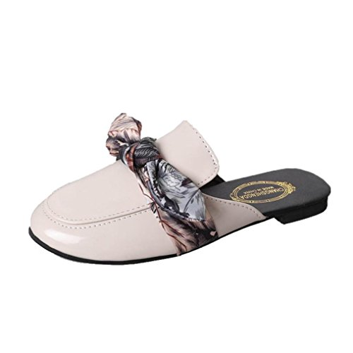 TPulling Sommer Damen﹛Flache Pantoffel﹜Sandalen Ankle Flip Flops﹛Bandbogens Niedrigen﹜Ribbon Bow Wildleder Outdoor Party Lässige Schuhe Hausschuhe (35=EU:34, Weiß) -