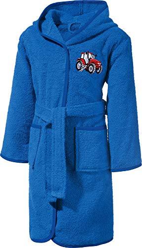 Erwin Müller Kinder-Bademantel mit Kapuze Frottier blau Größe 98/104 - saugstark, langlebig, mit Taschen und Bindegürtel, Stickerei Traktor (weitere Größen)