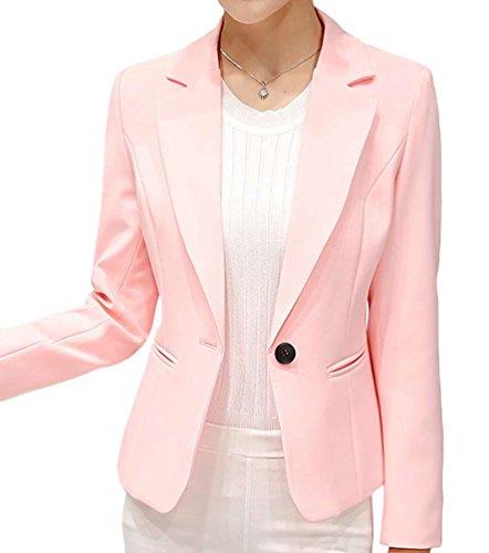 YiLianDa Donna Casuale Manica Lunga Giacca Blazer Slim Fit Colore Puro Outwear Maglietta Rosa