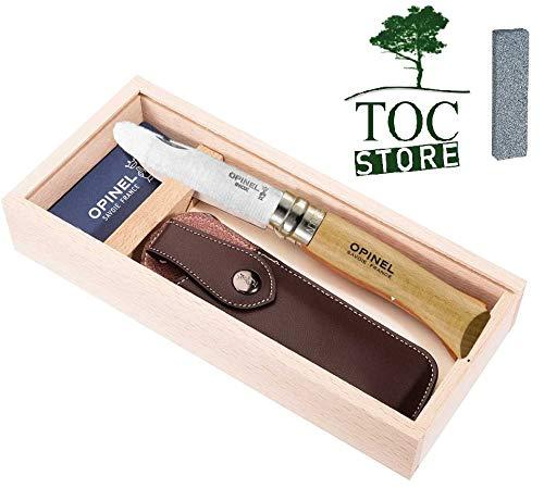TOC STORE Opinel Kindermesser Set Naturfarben inkl. Etui, Schleifstein und Geschenkbox aus Holz